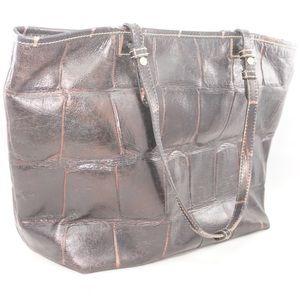 Dooney & Bourke Brown Leather Croc Embossed Bag